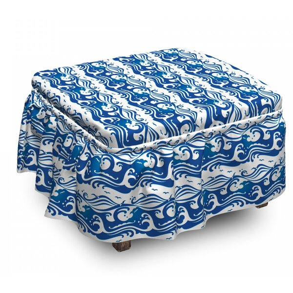Swirling Ocean Waves Ottoman Slipcover (Set Of 2) By East Urban Home