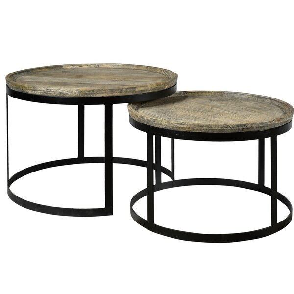 Hinesville Mango Wood 2 Piece Cocktail Tables with Tray Top by 17 Stories