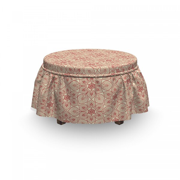 Patio Furniture Far Eastern Floral Ottoman Slipcover (Set Of 2)