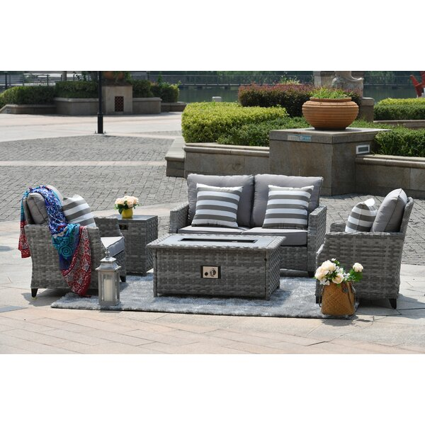 Devine 5 Pieces Rattan Sofa Seating Group with Cushions by Rosecliff Heights