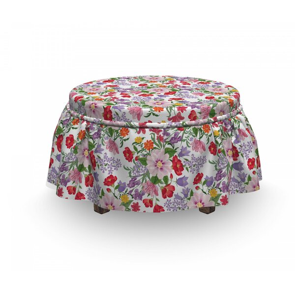 Nostalgic Vintage Flowers Ottoman Slipcover (Set Of 2) By East Urban Home