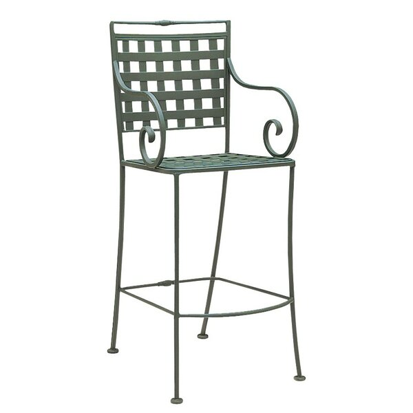 Sheffield Stationary 32.5'' Patio Bar Stool with Cushion by Woodard