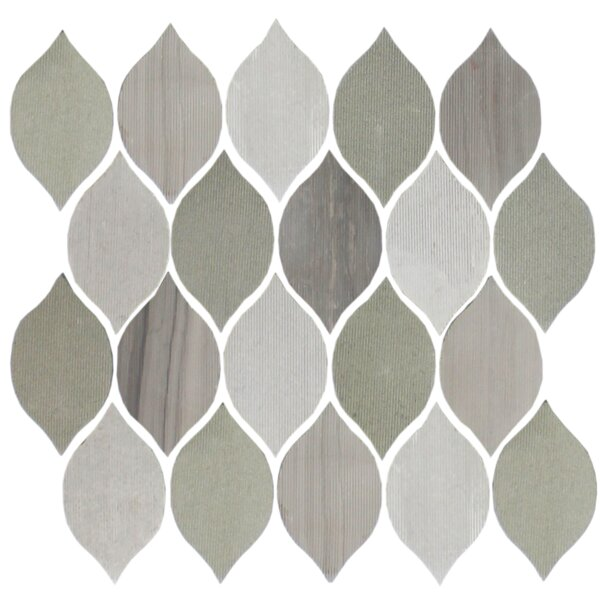 Oblong Teardrop 2 x 4 Slate Mosaic Tile in Gray by Susan Jablon