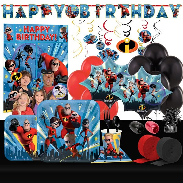 133 Piece The Incredibles 2 Ultimate Plastic Disposable Party Supplies Set [NA]