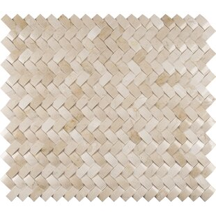 Crema Herringbone Arched 1 X 3 Marble Mosaic Tile In Beige