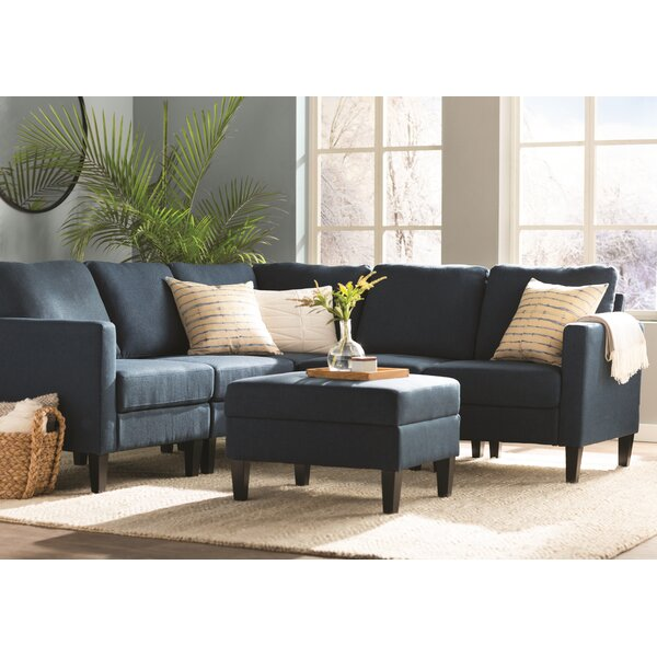 Bayard Right Hand Facing Modular Sectional with Ottoman by Breakwater Bay