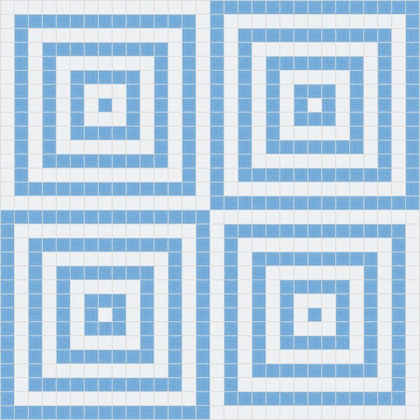 Urban Essentials Concentric Squares 3/4 x 3/4 Glass Glossy Mosaic in Lakefront Blue by Mosaic Loft