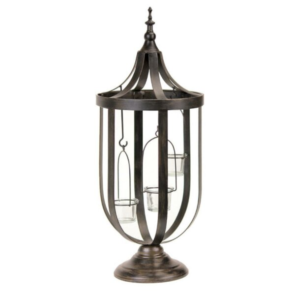 Decorative Antique-Style Bronze Birdcage Glass Lantern by Darby Home Co