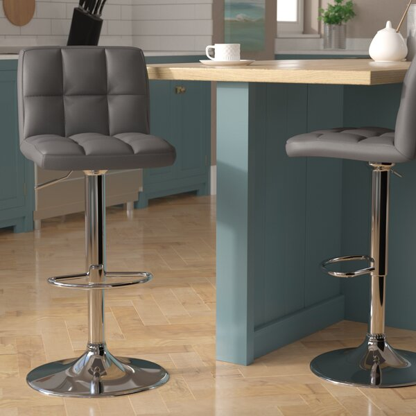Puneeth Adjustable Height Swivel Bar Stool (Set of 2) by Orren Ellis