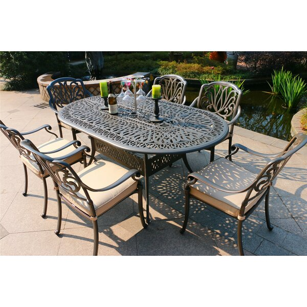 Baptiste Aluminum 7 Piece  Dining Set with  Cushions by Canora Grey