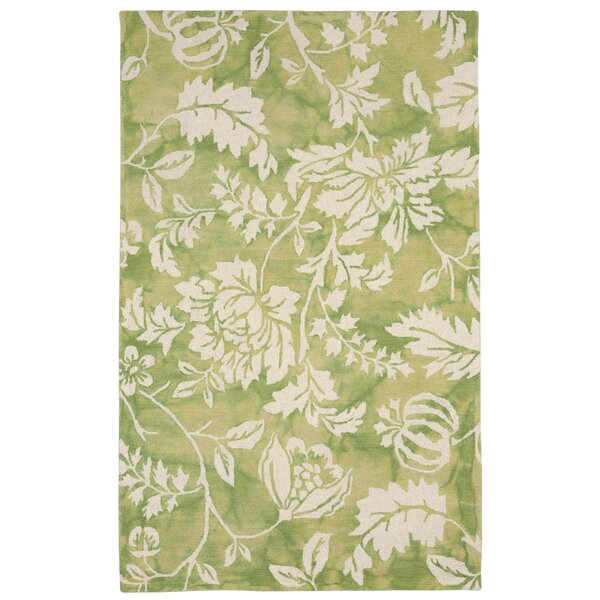 Levittown Hand-Tufted Wool Green/Beige Area Rug by Red Barrel Studio