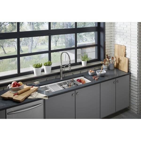 Prolific 44-in x 18-1/4-in x 10-in Under-Mount Single-Bowl Kitchen Sink with Accessories by Kohler