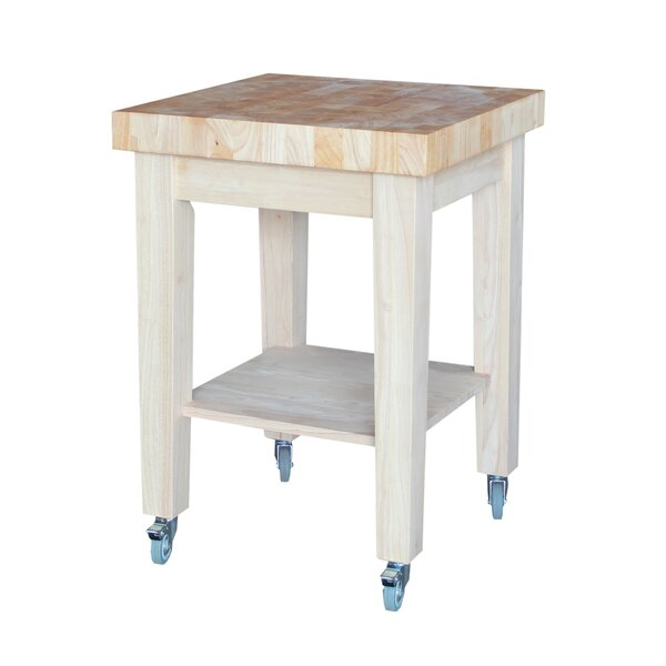 Cuthbert Kitchen Cart with Butcher Block with Storage by Rosecliff Heights