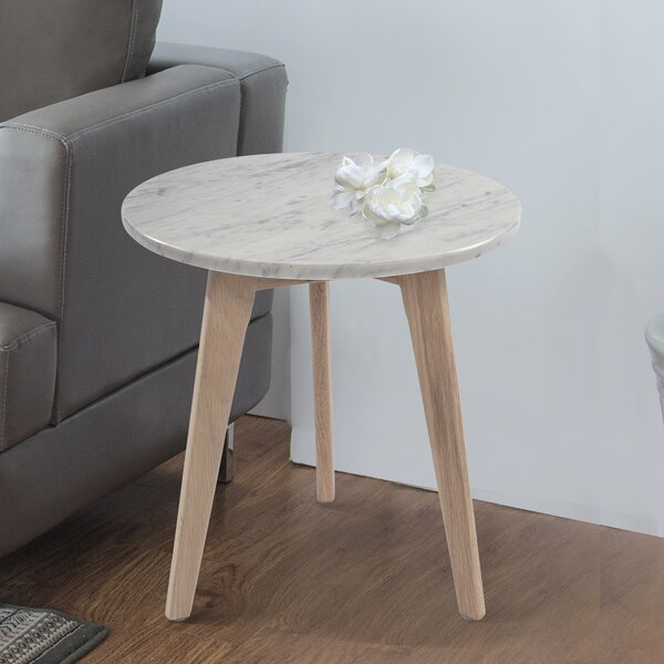 """Harriette 15"""" Round Italian Carrara White Marble End Table By Ivy Bronx"""