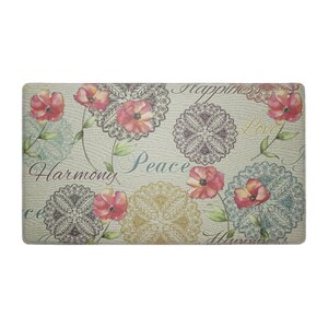 Poppies Words Anti-Fatigue Cushioned Chef Kitchen Mat