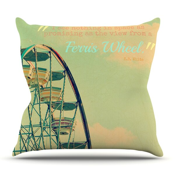 Ferris Wheel by Robin Dickinson Outdoor Throw Pillow by East Urban Home