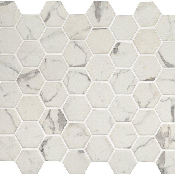Statuario Celano 2 x 2 Glass Mosaic Tile in White by MSI