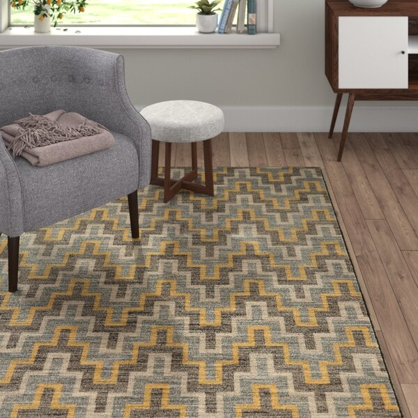 Gigi Geometric Grey/Gold Area Rug by Langley Street