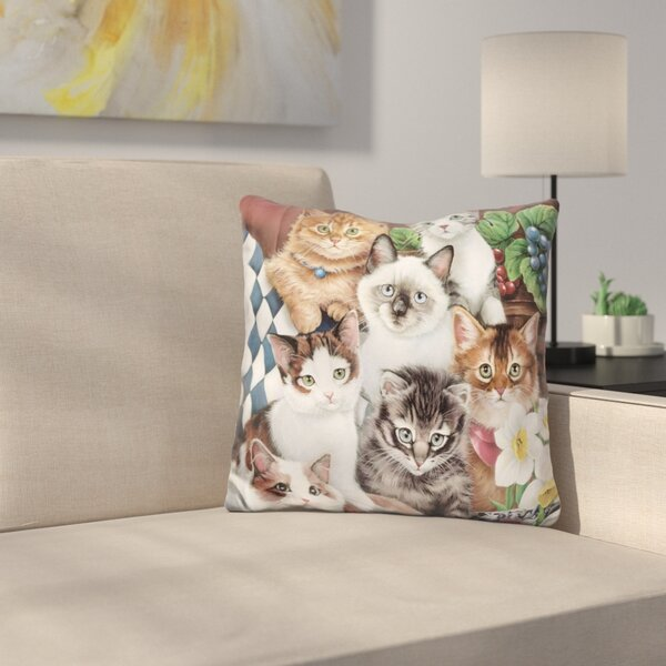 Cuddly Kittens Throw Pillow by East Urban Home
