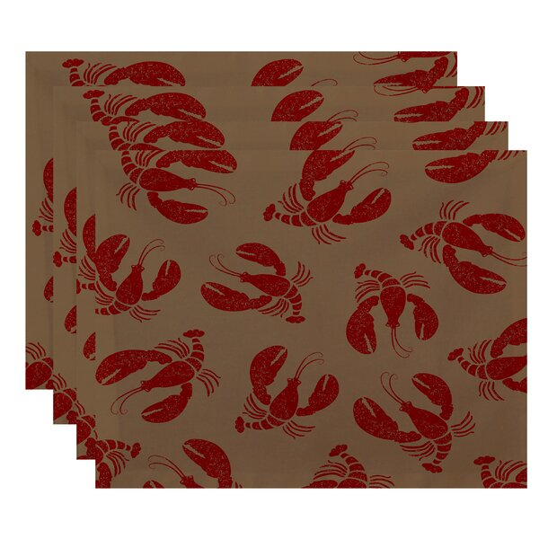 Bridgeport Lobster Fest Coastal Placemat (Set of 4) by Beachcrest Home