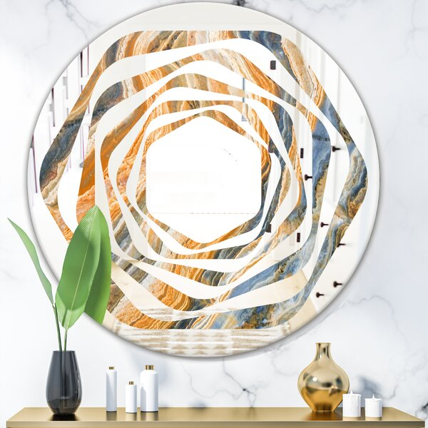 Whirl Marbled Geode 4 Modern Frameless Wall Mirror