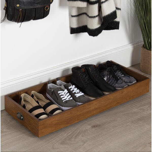 Multipurpose Rolling Wooden 4 Pair Boot/Shoe Storage