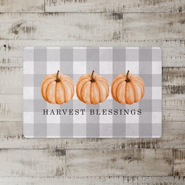 Selkirk Buffalo Harvest Blessings with Pumpkins Kitchen Mat