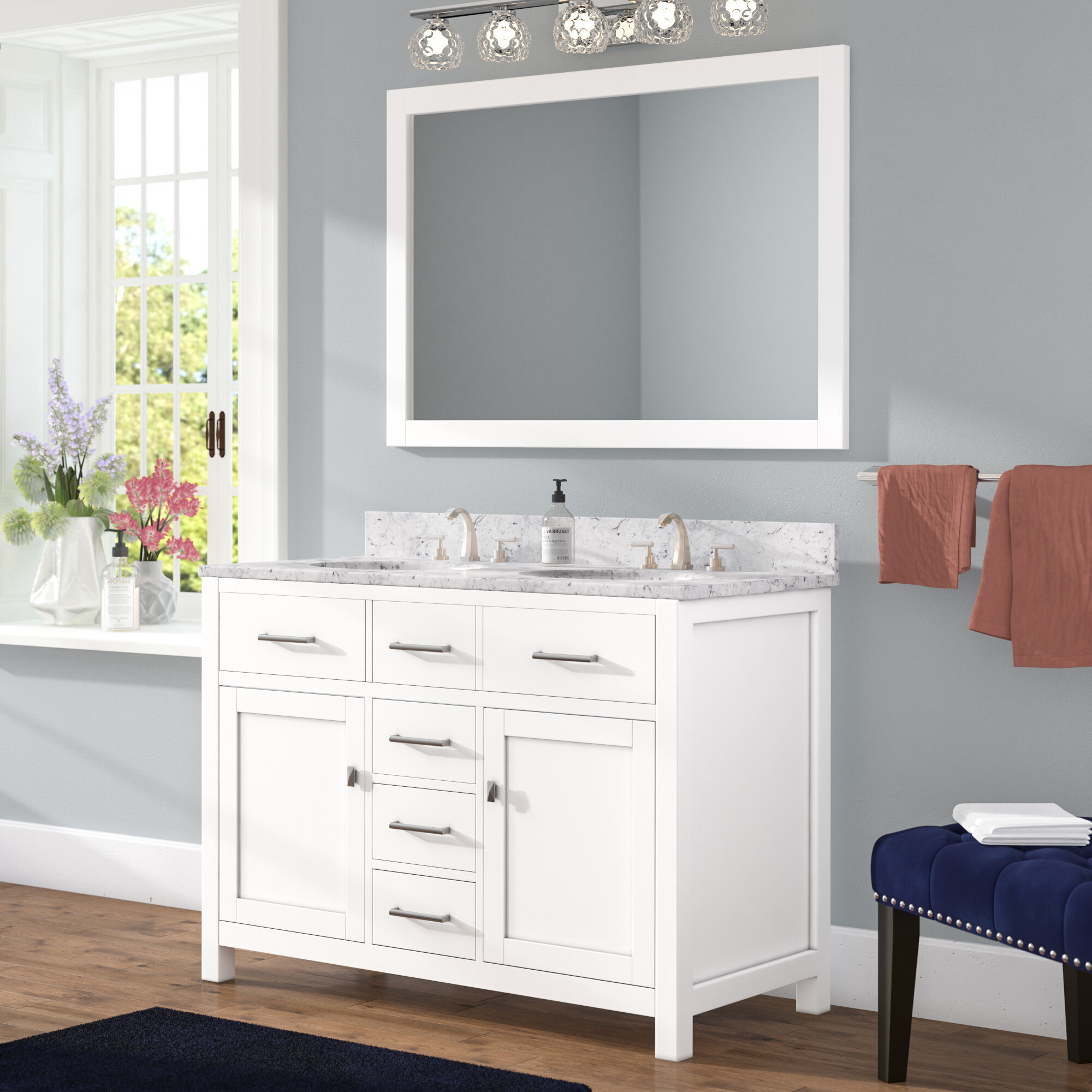 "Willa Arlo Interiors Sverre 48"" Double Bathroom Vanity Set with Mirror & Reviews 