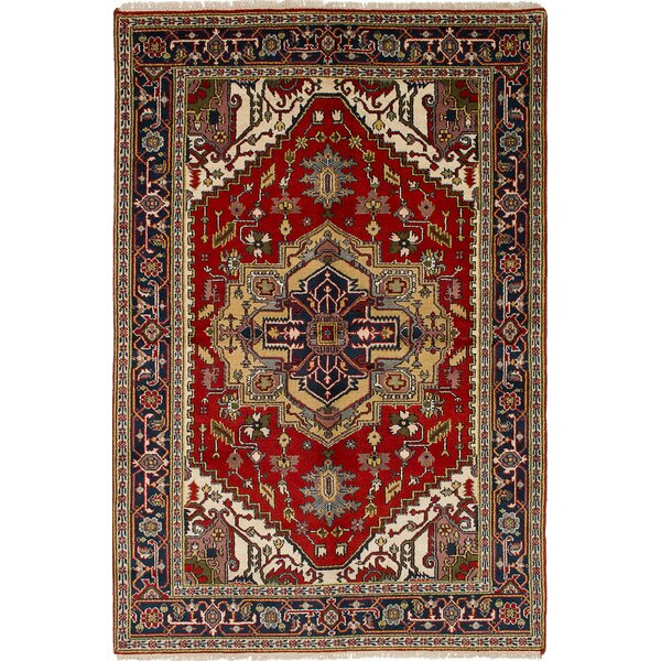 One-of-a-Kind Doerr Geometric Hand Knotted Rectangle Wool Red Area Rug by Isabelline