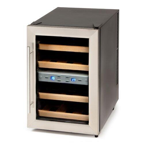12 Bottle Double Zone Wine Refrigerator Domo Silver,Black