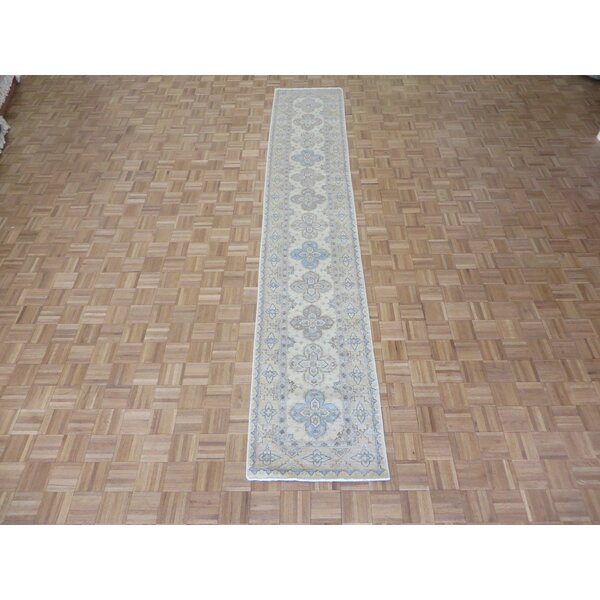 One-of-a-Kind Railsback Khotan Hand-Knotted Rayon from Bamboo Silk Ivory Area Rug by Astoria Grand