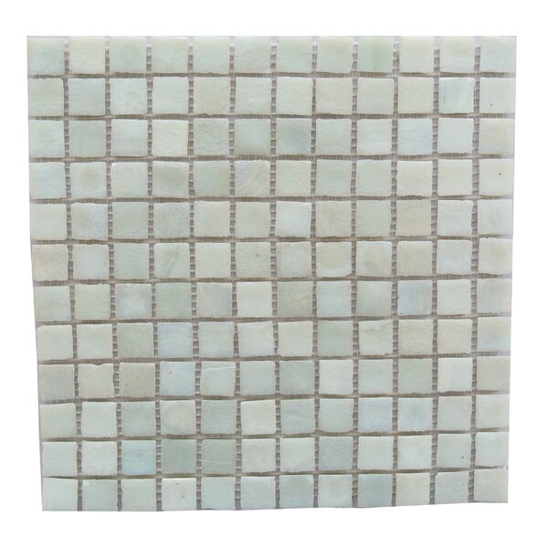 LEED Amber 1 x 1 Glass Mosaic Tile in Cream by Abolos