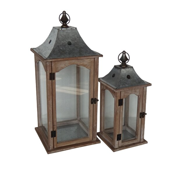 2 Piece Wood/Glass/Metal Lantern Set by Laurel Foundry Modern Farmhouse