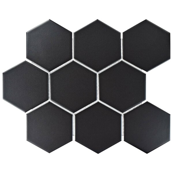 Retro Super Hex 3.73 x 3.73 Porcelain Mosaic Field Tile in Matte Black by EliteTile