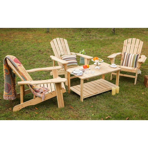 Rigdon Solid Wood Adirondack Chair with Table by Loon Peak
