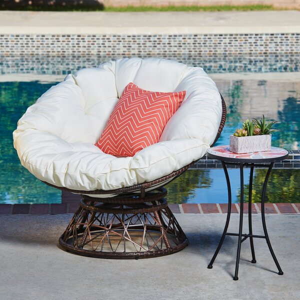 Fannie Swivel Patio Chair with Cushions by Bungalow Rose