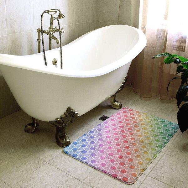 Katelyn Elizabeth Rainbow Hexagons and Triangles Rectangle Non-Slip Geometric Bath Rug
