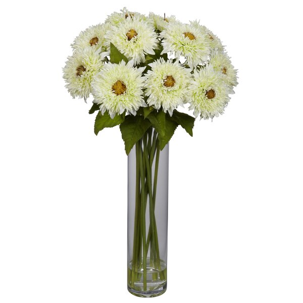 Sunflower with Cylinder Silk Floral Arrangements by Nearly Natural