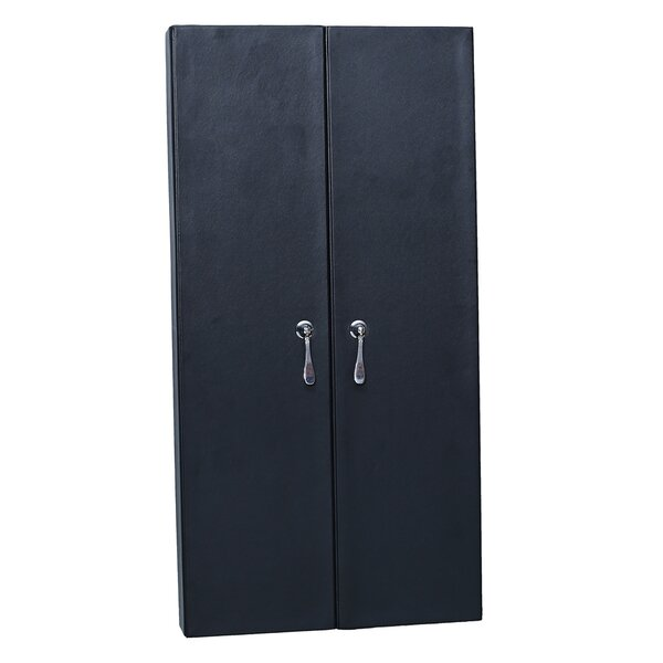 Faux Leather Wall Mounted Jewelry Armoire with Mirror by Ikee Design