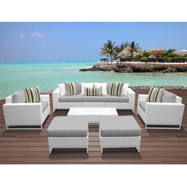 Miami 8 Piece Rattan Sofa Seating Group with Cushions by TK Classics