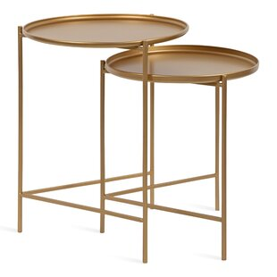 Petersburg Round Metal 2 Piece Nesting Tables by Bungalow Rose