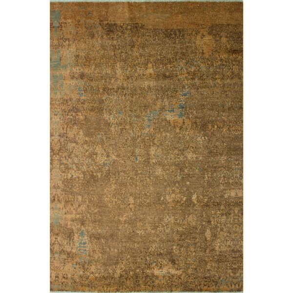 One-of-a-Kind Coby Abstract Hand Knotted Wool Tan/Brown Area Rug by Bungalow Rose