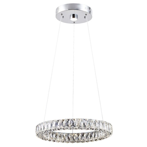 Anthea 1 - Light Unique / Statement Wagon Wheel LED Chandelier By Everly Quinn