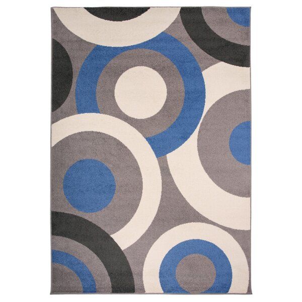 Cardwell Contemporary Circles Beige/Blue/Gray Area Rug by Ebern Designs