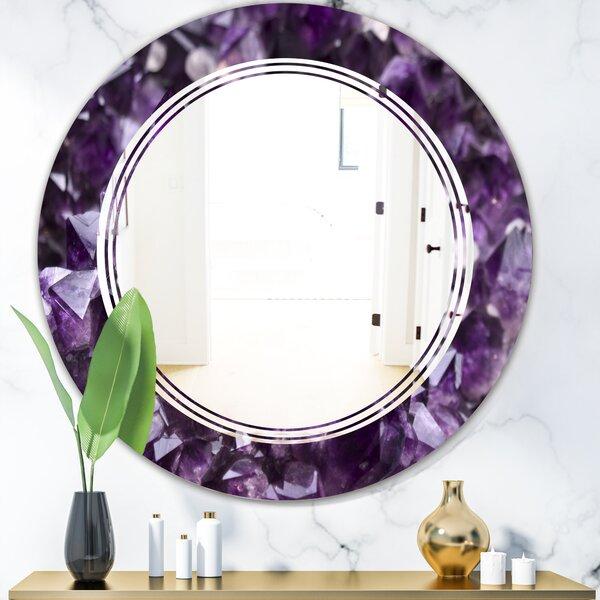 Triple C Amethyst Geode Modern Frameless Wall Mirror