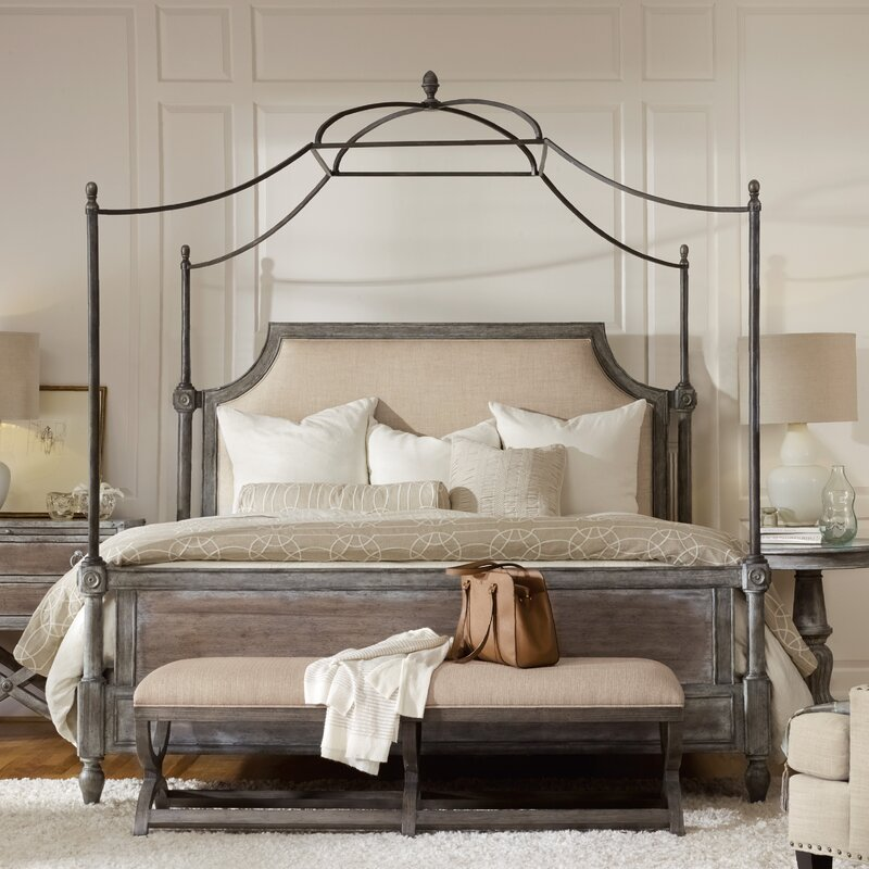 True Vintage Upholstered Canopy Bed