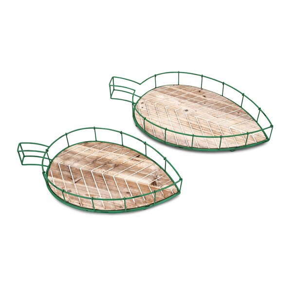 Westhoff Tropical Leaf Accent Tray (Set of 2) by Millwood Pines