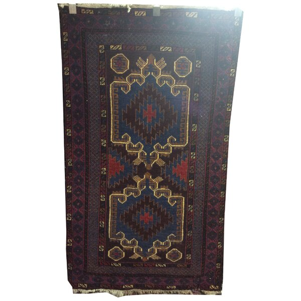One-of-a-Kind Weik Afghan Tribal Hand-Knotted Wool Blue/Brown Area Rug by Bloomsbury Market