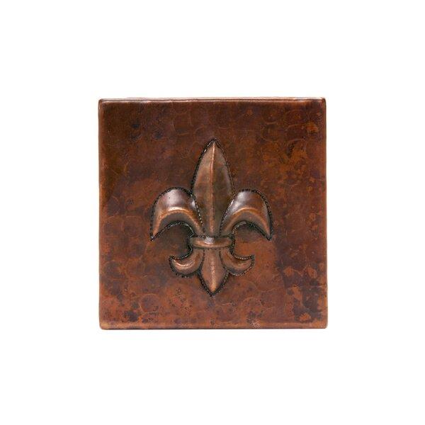 4 x 4 Copper Fleur De Lis Tile in Oil Rubbed Bronze by Premier Copper Products