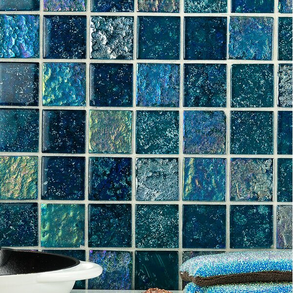 Marina Iridescent 2 x 2 Glass Mosaic Tile in Aqua by Splashback Tile